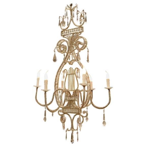 Gilt Iron Beaded And Crystal Harp Form Chandelier At 1stdibs