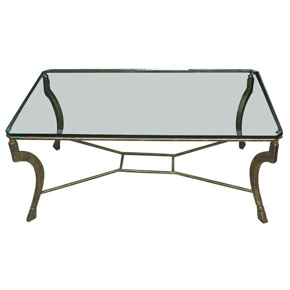 custom iron and glass coffee table at 1stdibs