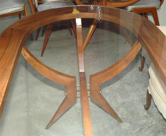 60 s Oval Dining Table with Glass Top at 1stdibs