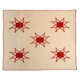 19THC RED&WHITE FEATHERED STAR QUILT FROM PENNSYLVANIA