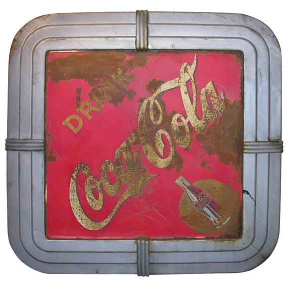 vintage coca cola sign with art deco metal frame at 1stdibs. Black Bedroom Furniture Sets. Home Design Ideas
