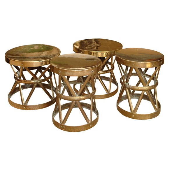 Wonderful Collection Of Brass Stools Tables At 1stdibs