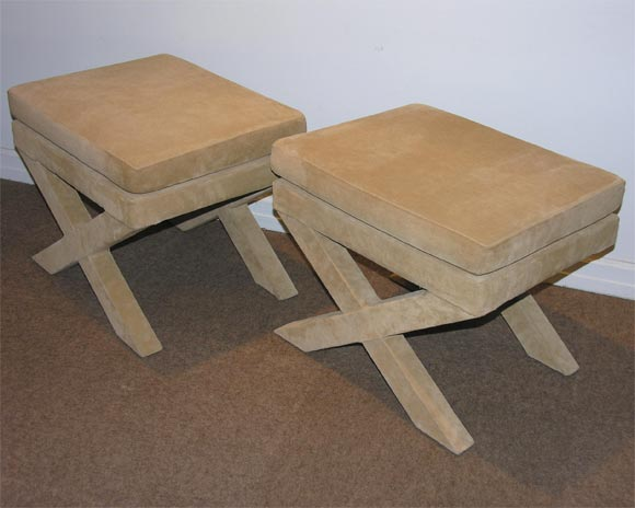Pair Of X Benches Upholstered In Suede At 1stdibs