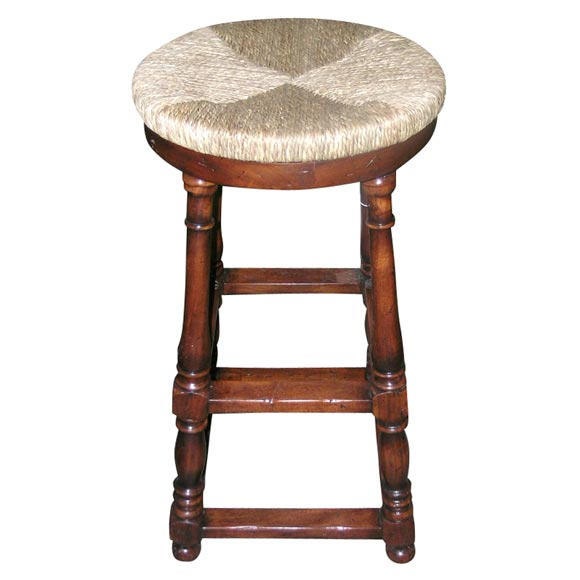 Walnut With Rush Seat Bar Stools At 1stdibs