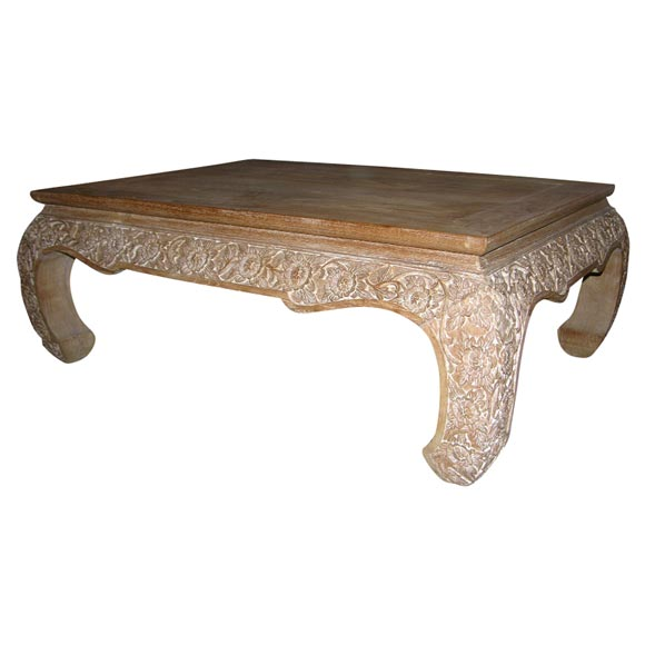 Hand carved teak low coffee table at 1stdibs Hand carved coffee table