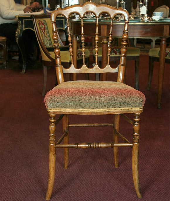French Set of 8 Napoleon III Turned Dining Chairs For Sale