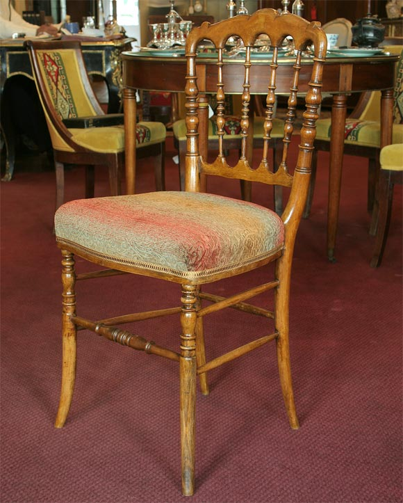 Set of 8 French Napoleon III period turned dining chairs with faux bois decoration, circa 1860