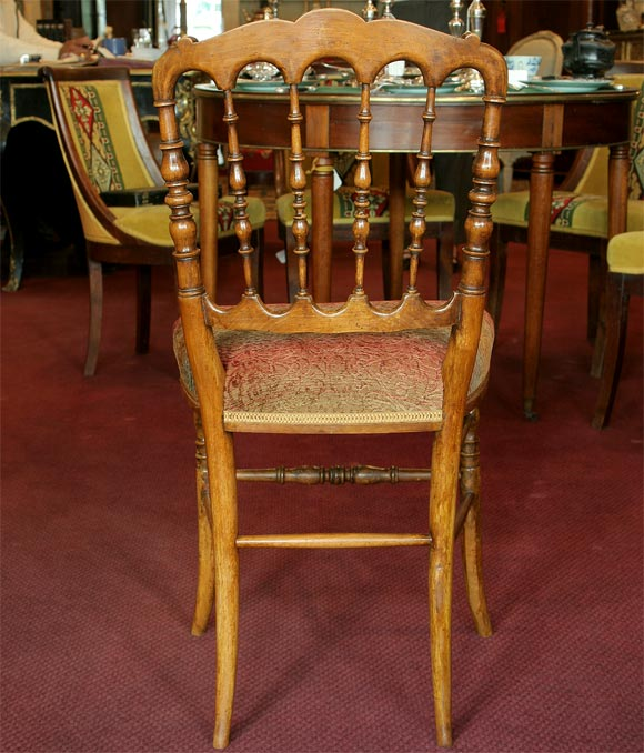 Wood Set of 8 Napoleon III Turned Dining Chairs For Sale