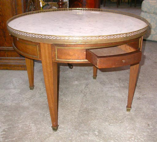 Round Marble Topped Cherry Coffee Table At 1stdibs