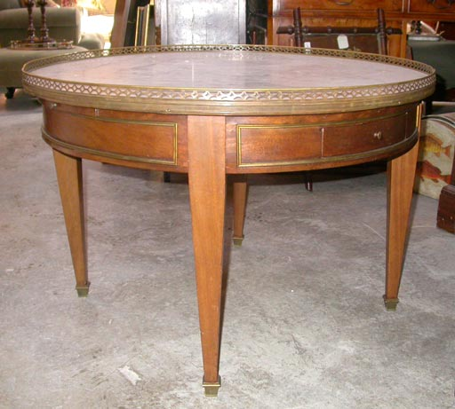 Cherry Marble Top Coffee Tables: Round Marble Topped Cherry Coffee Table At 1stdibs