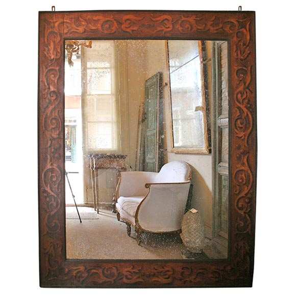 19th Century French Monumental Pyre Engraved Framed Mirror For Sale