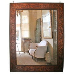 19th Century French Monumental Pyre Engraved Framed Mirror