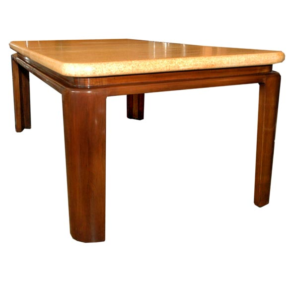 Cork And Walnut Dining Table By Paul Frankl For Johnson At