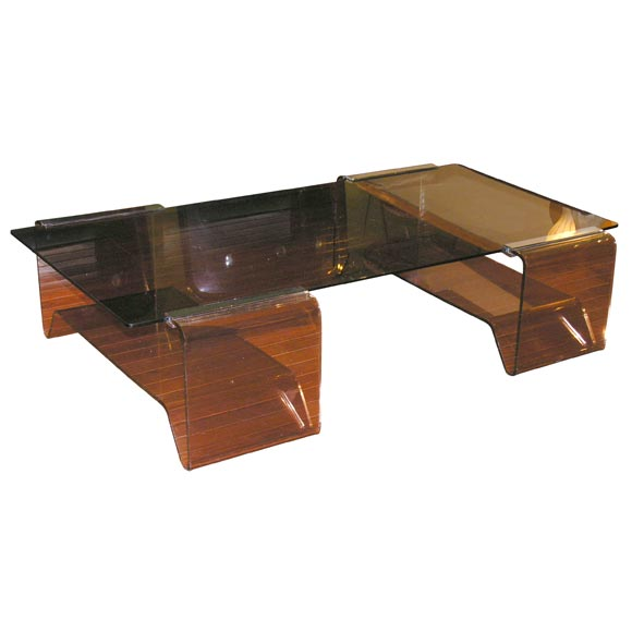 Brown Smoked Glass And Lucite Coffee Table At 1stdibs