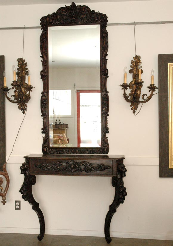 Carved console table and mirror for sale at 1stdibs - Table console miroir ...