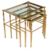 Set of Brass and Mirrored Nesting Tables