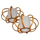 Pair of Vintage Bent Bamboo Hanging Lamps