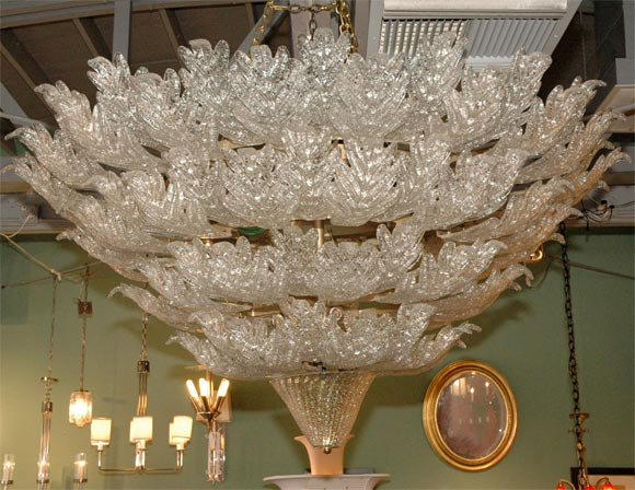 Barovier chandelier, massive scale, from a Bel Air estate with over 130 leaves.