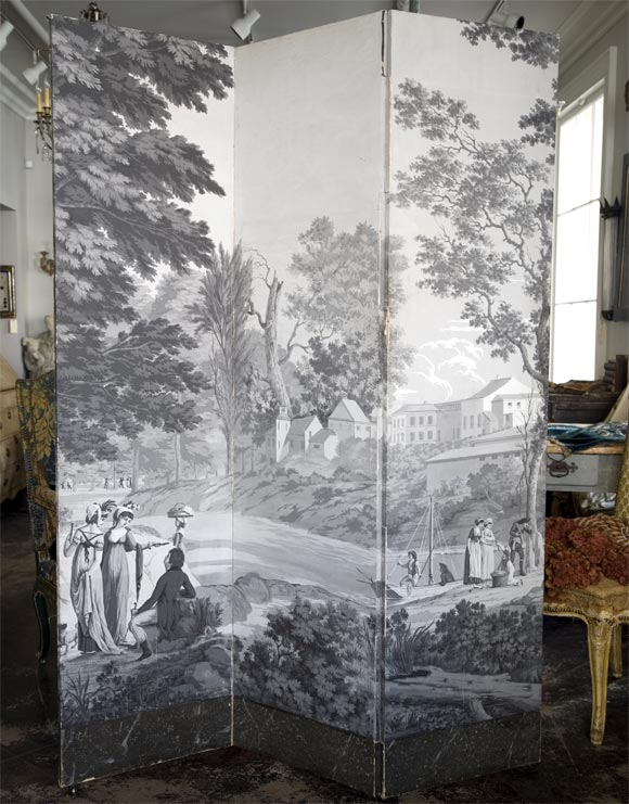 19thc zuber grisaille wallpaper screen at 1stdibs
