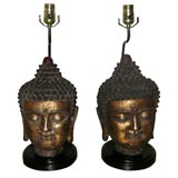 PAIR OF SPECTACULAR BUDDHA HEAD LAMPS