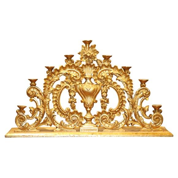 One Large Italian Carved Giltwood Altar Candelabra