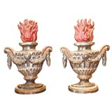 Pair of Italian Giltwood and Polychrome Flaming Urns