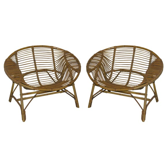 Exceptionnel Set Of Three Rattan Saucer Chairs By Abraham For Sale