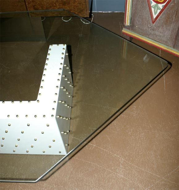 Brass studded coffee table at 1stdibs for Coffee table with studs