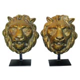 Pair of Gilt bronze Lion Heads