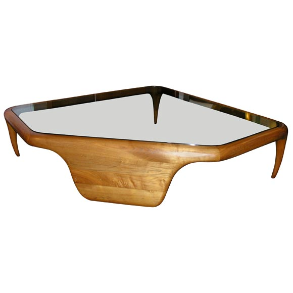 Large Coffee Table In Walnut And Glass By Vladimir Kagan At 1stdibs