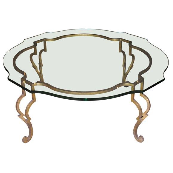 gilt iron and glass coffee table at 1stdibs