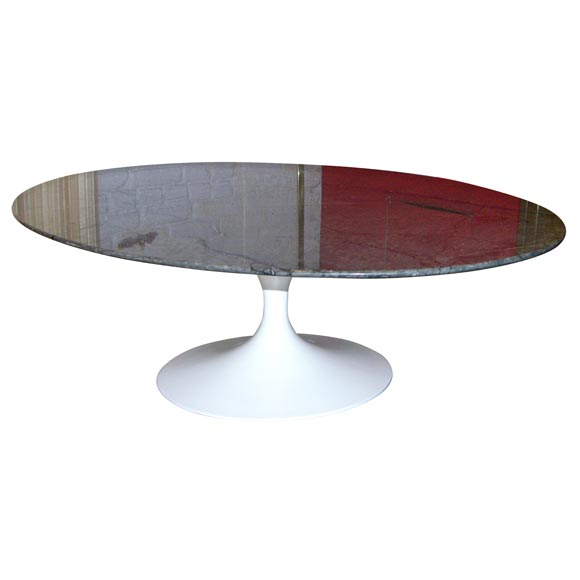 Eero Saarinen Oval Coffee Table Mfg Knoll W Gray Marble Top At 1stdibs