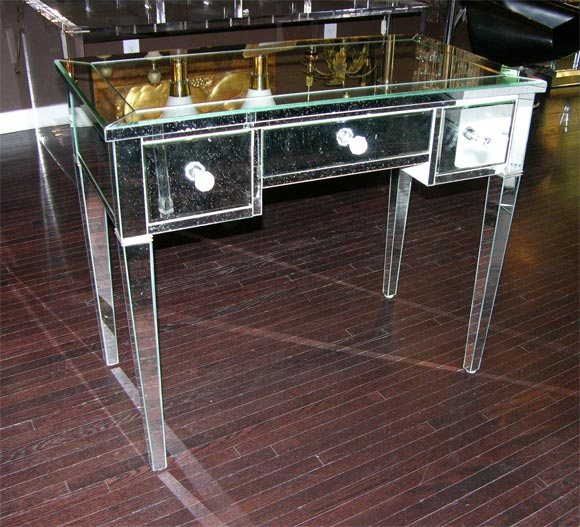 Custom classic modern mirrored desk with silver trim legs. Customization is available in different sizes, finishes and hardware.