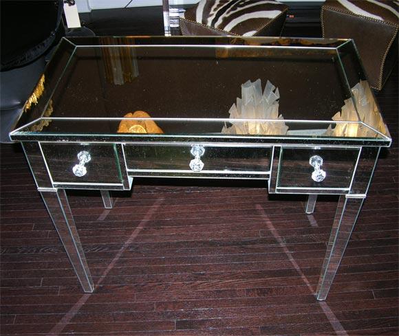 Contemporary Classic Modern Mirrored Desk For Sale