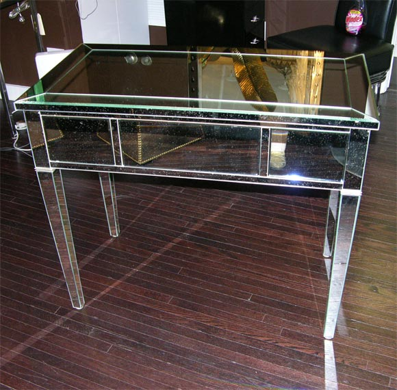 Glass Classic Modern Mirrored Desk For Sale