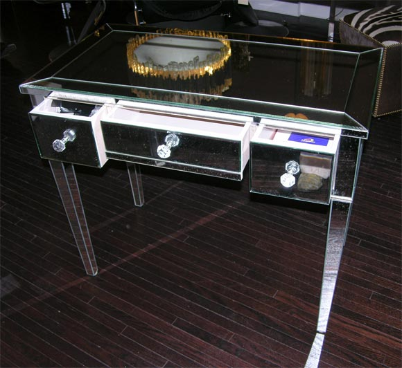 Classic Modern Mirrored Desk For Sale 1