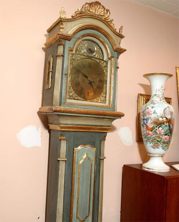 Louis XVI Danish 18th Century Painted and Parcel-Gilt Longcase Clock For Sale