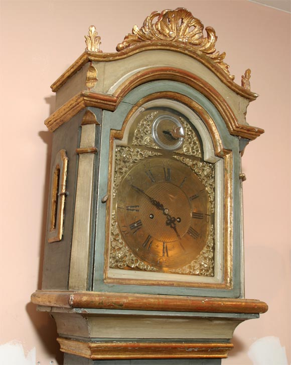 Danish 18th Century Painted and Parcel-Gilt Longcase Clock In Good Condition For Sale In Hudson, NY