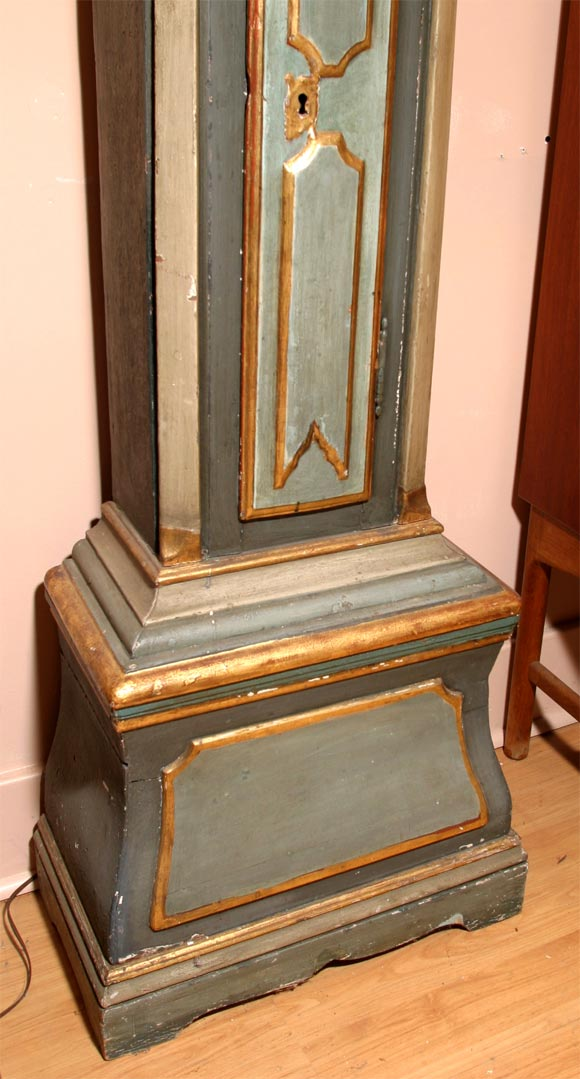 Danish 18th Century Painted and Parcel-Gilt Longcase Clock For Sale 4
