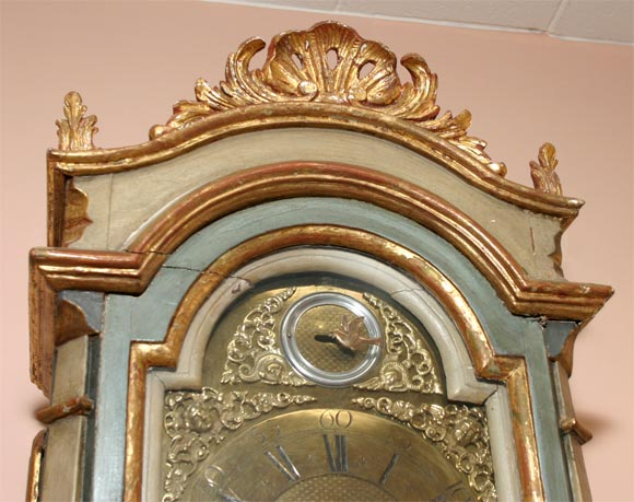 Danish 18th Century Painted and Parcel-Gilt Longcase Clock For Sale 5