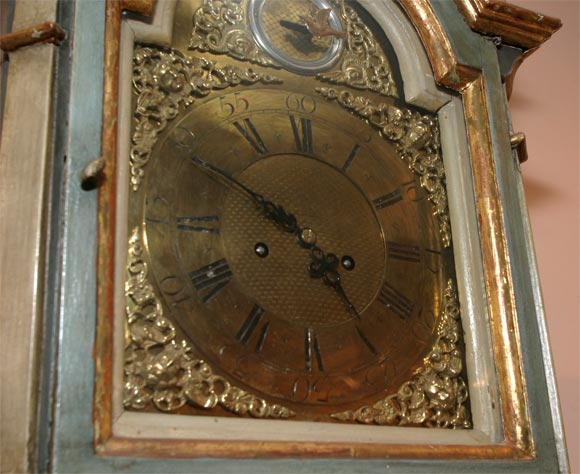 Danish 18th Century Painted and Parcel-Gilt Longcase Clock For Sale 6