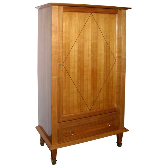 Cherry wood one door art deco armoire at stdibs
