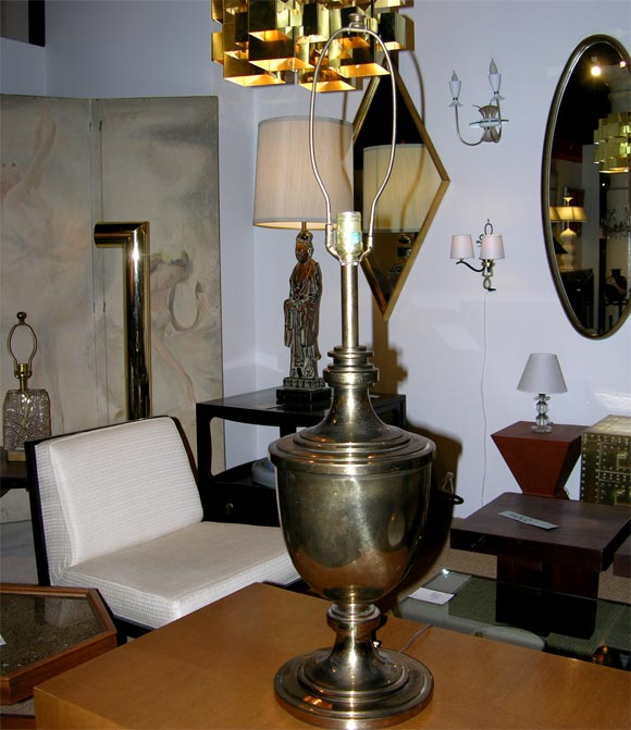 A pair of overscale urn form brass table lamps by Stiffel. American, circa 1960.