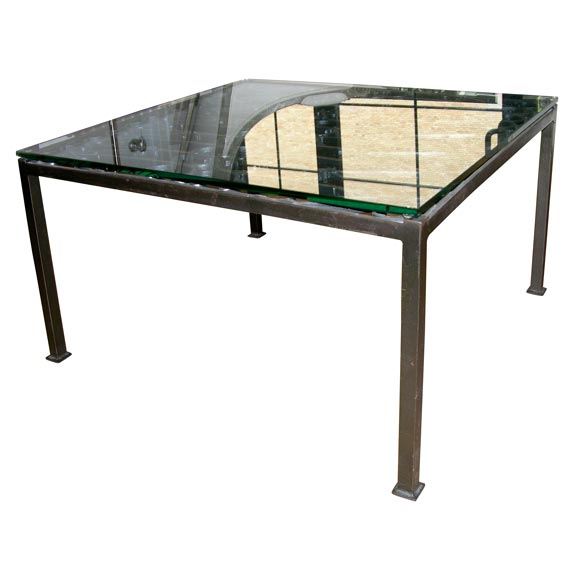 Floating Square Coffee Table In Green And Black Slatelike: Black Iron Gate Coffee Table With Glass Top At 1stdibs