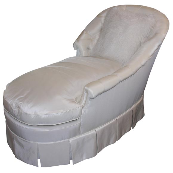 Ivory taffeta down filled chaises lounge at 1stdibs for Bernard chaise lounge