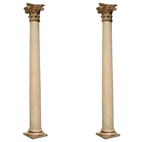 Pair of italian decorative wood and gold leaf corinthian for Decorative columns