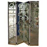 A Four-Panel Hollywood Regency Mirrored Folding Screen