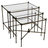 """A Set of Patinated Brass and Glass """"Bamboo"""" Nesting Tables"""
