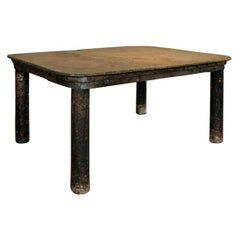 French Industrial Patinated Steel Workshop Table