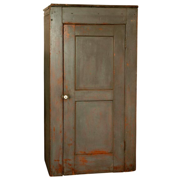 19th Century Original Gray Painted Chimney Cupboard from New England